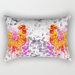 Watercolor rooster with sakura Rectangular Pillow
