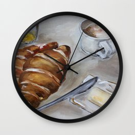 French breakfast, coffee and croissant, original oil painting, daily traditional art Wall Clock