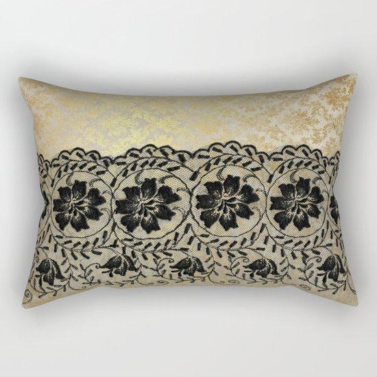 Black floral luxury lace on gold damask pattern Rectangular Pillow