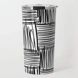 Modern Square Black on White Travel Mug