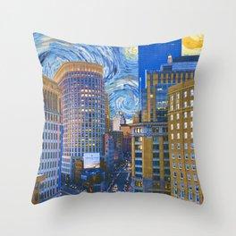 Boston Massachusetts Skyline and Starry Night Throw Pillow