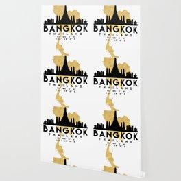 BANGKOK THAILAND SILHOUETTE SKYLINE MAP ART Wallpaper