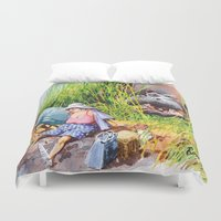 hippo Duvet Covers featuring hippo! by Rose Rigden