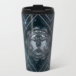Libra Zodiac Silver Embossed on the Star sky Travel Mug