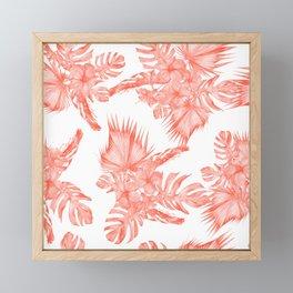 Tropical Palm Leaves Hibiscus Flowers Deep Coral Framed Mini Art Print