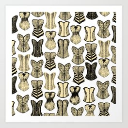 Vintage Sexy Cream and Black Girly Corsets Pattern Art Print