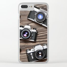 Collection of retro photo cameras on  wood Clear iPhone Case