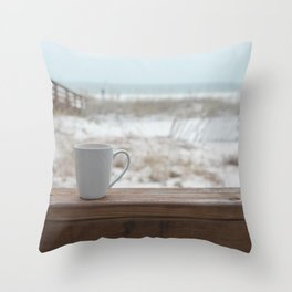 Cuppa at the Beach Throw Pillow