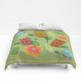 Bamboo Tiki Room Pattern Comforters