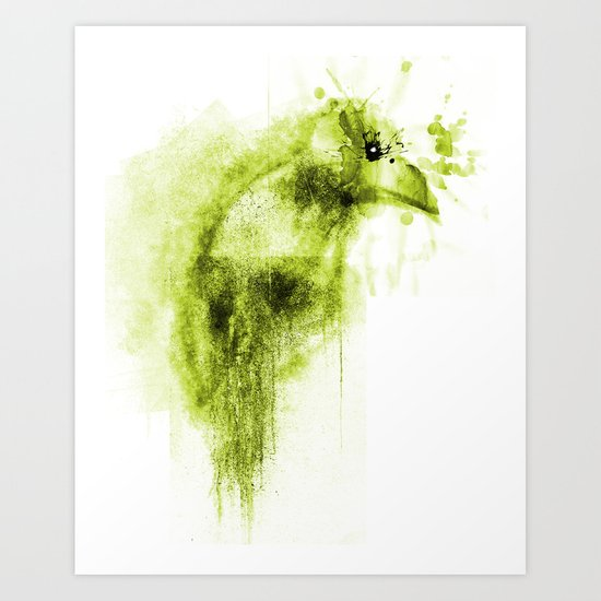 Splatter Bird Green Art Print