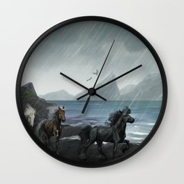 Shores of the black sand Wall Clock