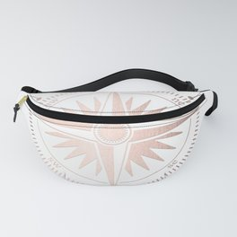 Rose Gold on White Compass Fanny Pack