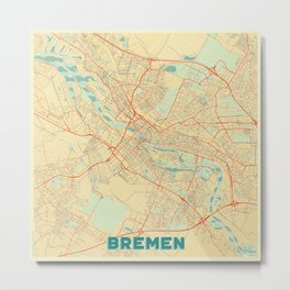 Bremen Map Retro Metal Print
