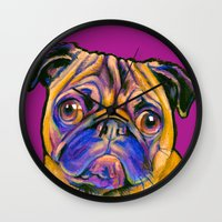 minnie Wall Clocks featuring Minnie Pug by Animal Art By Sarah
