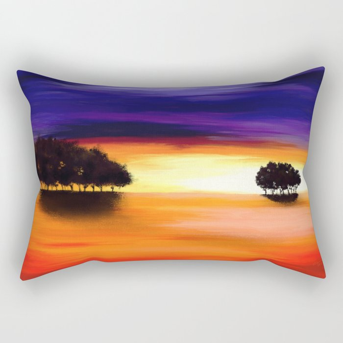 Painting of a landscape in purple and orange Rectangular Pillow