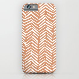 Mudcloth Striped Pattern, Burnt Orange iPhone Case