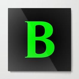 B MONOGRAM (LIME & BLACK) Metal Print