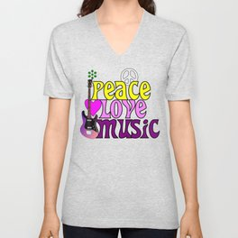 Peace, love and music, hippie style Unisex V-Neck