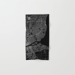 Detroit Black Map Hand & Bath Towel