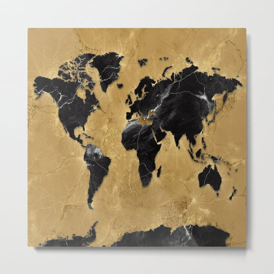 world map marble gold 2 Metal Print