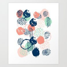 Abstract coral mint navy modern color palette basic canvas art for home Art Print