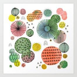 Circle Burst Doodle Art Print
