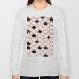 Girly rose gold black white marble mermaid scallop pattern Long Sleeve T-shirt