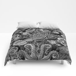 The Kraken (Black & White, Square) Comforters