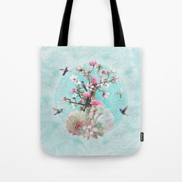 FLORAL HUMMINGBIRD Tote Bag