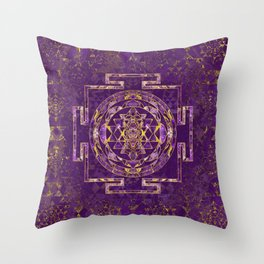 Sri Yantra  / Sri Chakra Amethyst and gold Throw Pillow
