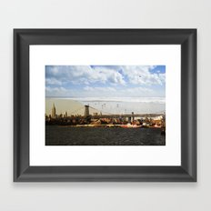 A HELICOPTER IN HER SKY, A SEAGULL ON HIS BRIDGE Framed Art Print