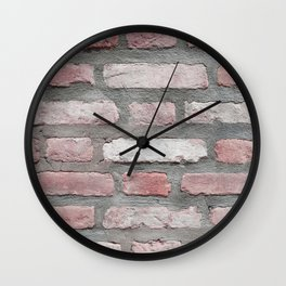 Blush Pink Brick Wall Wall Clock