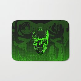 Gamer Skull CARTOON GREEN / 3D render of cyborg head Bath Mat