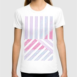 Geometrical abstract pink teal lilac watercolor stripes T-shirt
