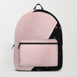Elegant rose gold glitter & black marble Backpack