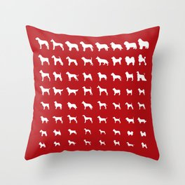 All Dogs (Red) Throw Pillow