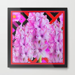 WESTERN BLACK-RED  PURPLISH-PINK ROSES & HYACINTHS Metal Print