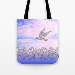 seagull above the waves Tote Bag