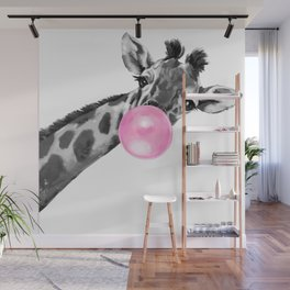Bubble Gum Black and White Sneaky Giraffee Wall Mural