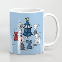 charlie brown Mugs featuring A Charlie Who Christmas by fishbiscuit