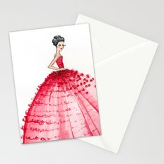 Red Couture Gown Watercolor Fashion Illustration Stationery Cards