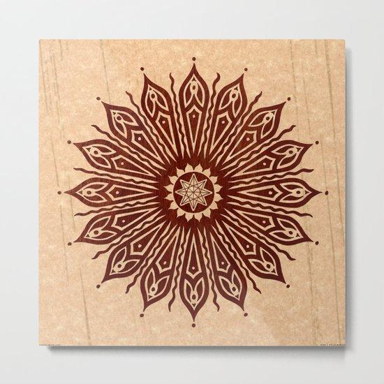 ozorahmi wood mandala Metal Print