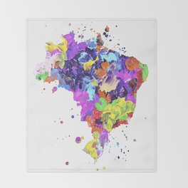 Brazil Map Throw Blanket