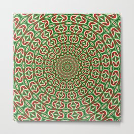 Two Tone Green And Red And White Christmas Mandala Metal Print