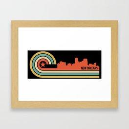 Retro New Orleans Louisiana Skyline Framed Art Print