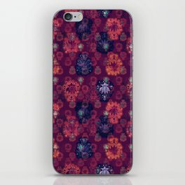 Lotus flower - fire on mulberry woodblock print style pattern iPhone Skin