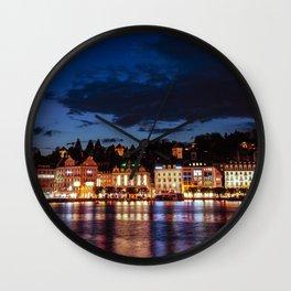 Lucerne by night Wall Clock