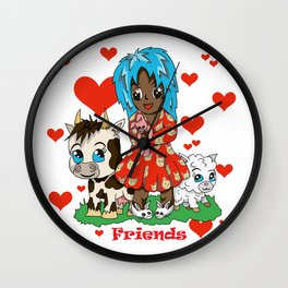 Farmyard friends with red text Wall Clock