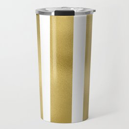 Gold unequal stripes on clear white - vertical pattern Travel Mug