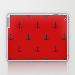 Navy Sailor Anchor Pattern Blue And Red Laptop & iPad Skin
